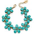 Fiorelli Jewellery Ladies' PVD Gold plated Blue Stone Flower Bracelet