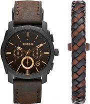 Mens Fossil Machine Gift Set Chronograph Watch FS5251SET