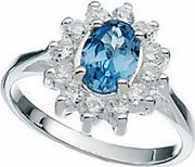 Ladies Elements Sterling Silver Light Blue & Clear Cubic Zirconia Cluster Ring R916T-56
