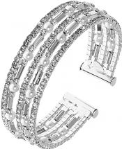 Ladies Anne Klein Silver Plated Pave Crystal Cuff Bangle 60449734-G03