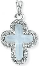White Gold Diamond and Blue Topaz Cross