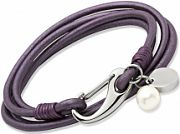 Ladies Unique & Co Stainless Steel Berry Leather Bracelet B67BE/19CM