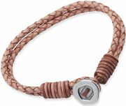 Ladies Unique Stainless Steel Natural Leather Bracelet B147NA/19CM