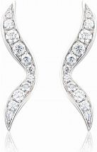 White Gold Diamond Wave Earrings