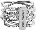 Ladies Michael Kors PVD Silver Plated Statement Crossover Ring Size P MKJ4423040P