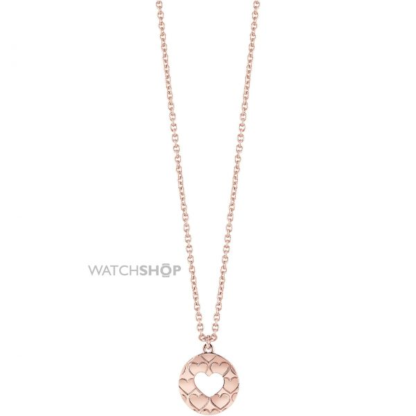 Ladies Guess Rose Gold Plated Heart Devotion Necklace UBN82049
