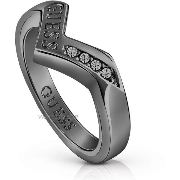 Ladies Guess Black Ion-plated Steel Triometric Ring UBR82031-54