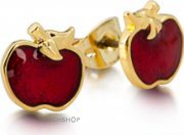 Ladies Disney Couture Gold Plated Snow White Red Enamel Poison Apple Stud Earrings DYE0748