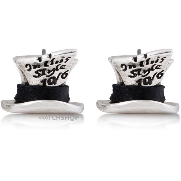 Ladies Disney Couture PVD Silver Plated Alice in Wonderland Mad Hatter Stud Earrings DYE0694