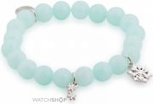 Ladies Disney Couture Base metal Frozen Elsa Snowflake Beaded Stretch Bracelet DFB320