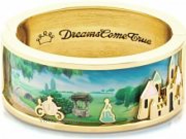 Ladies Disney Couture PVD Gold plated Enamel Cinderella & Magic Castle Scene Wide Bangle DYB0493