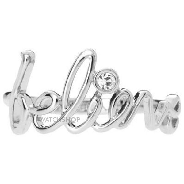 Ladies Disney Couture Rhodium Plated Believe Word Ring Size N DSR0118-7