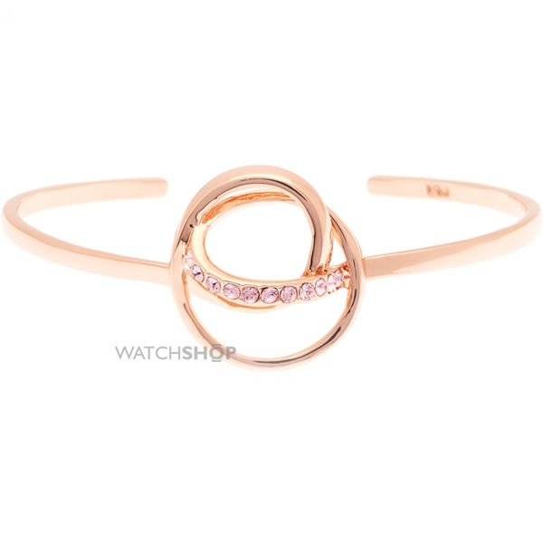 Ladies Karen Millen Rose Gold Plated Crystal Ribbon Cuff KMJ876-24-70