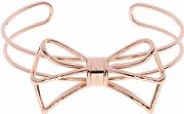 Ladies Ted Baker Rose Gold Plated Ginesa Geometric Bow Cuff TBJ1226-24-03