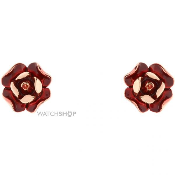 Ladies Ted Baker Rose Gold Plated Esmea Enamel Rose Stud Earring TBJ1232-24-167