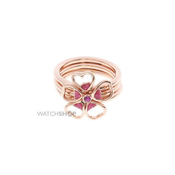 Ladies Ted Baker Rose Gold Plated Leotie Enamel Flower Stacking Ring ML TBJ1243-24-73ML
