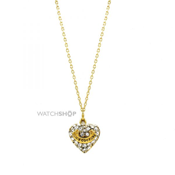 Ladies Juicy Couture Gold Plated Pave Heart Necklace WJW8-710-U