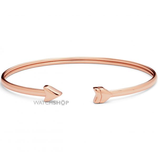 Ladies Fossil Rose Gold Plated Vintage Motif Bangle JF02451791