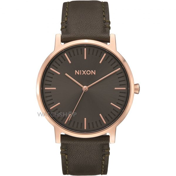 Mens Nixon The Porter Leather Watch A1058-2441