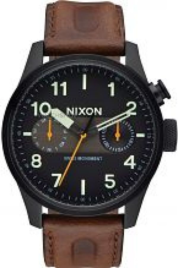 Mens Nixon The Safari Deluxe Leather Watch A977-2344