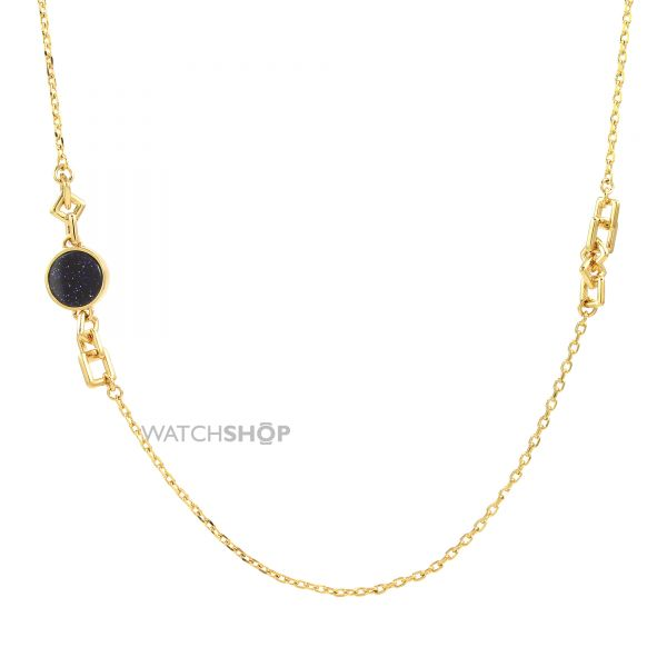 Ladies Lola Rose Gold Plated Blue Sandstone Garbo Station Necklace 584074