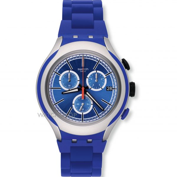 Unisex Swatch Blue Attack Chronograph Watch YYS4017AG