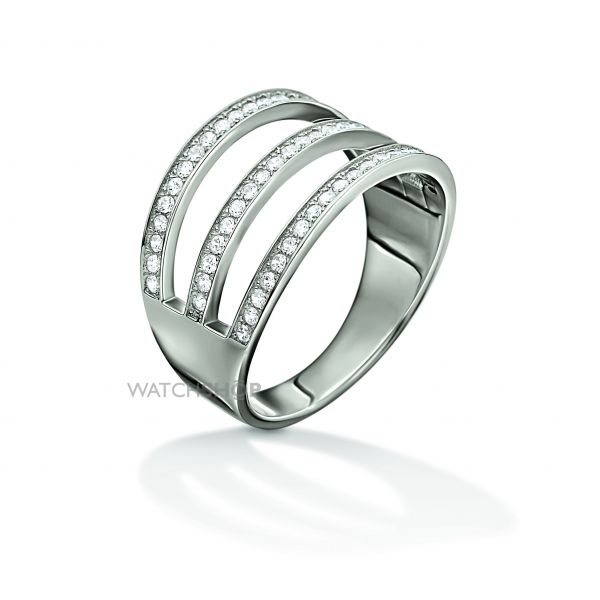 Ladies Folli Follie Sterling Silver Fashionably Silver 3 Row Crystal Ring Size N.5 5045.6048