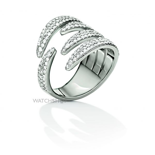 Ladies Folli Follie Stainless Steel Fashionably Silver Wrap Sparkle Ring Size P 5045.6366
