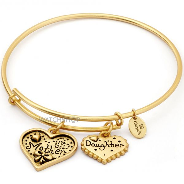 Ladies Chrysalis Gold Plated Family and Friendship Thinking Of You Mother Daughter Expandable Bangle CRBT0721GP