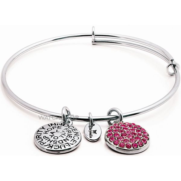 Ladies Chrysalis Silver Plated Love Good Fortune October Pink Tourmaline Crystal Expandable Bangle CRBT0110SP