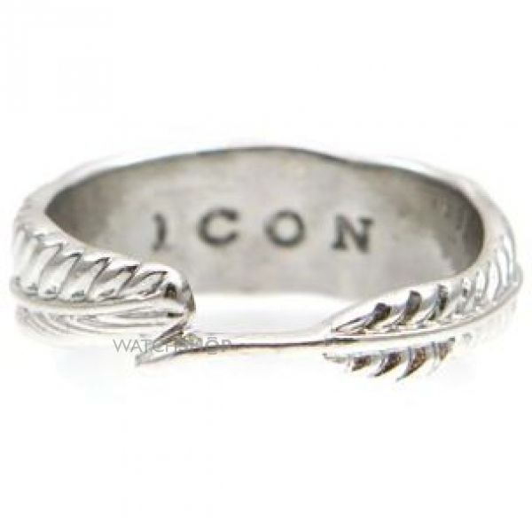 Mens Icon Brand Silver Plated Hartland Ring Size L P1177-R-SIL-LGE
