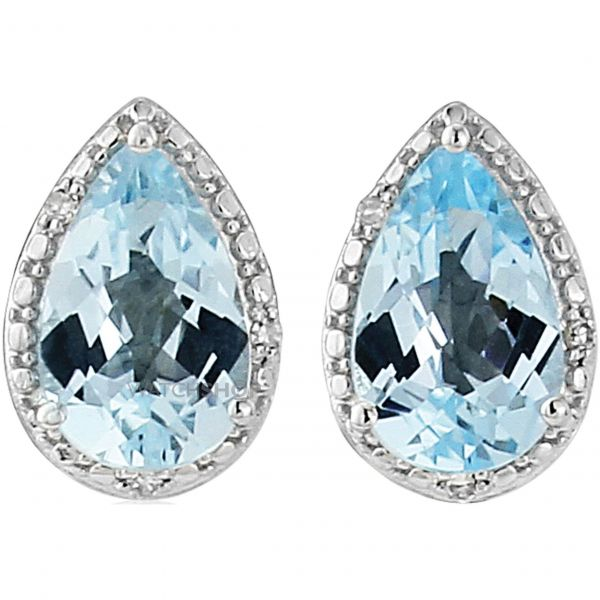 White Gold Diamond and Blue Topaz Earrings
