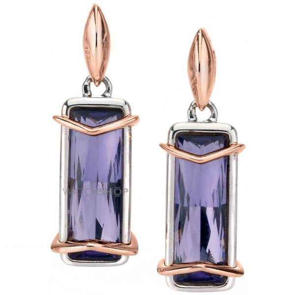 Ladies Fiorelli Sterling Silver Purple Crystal Earrings E5148M
