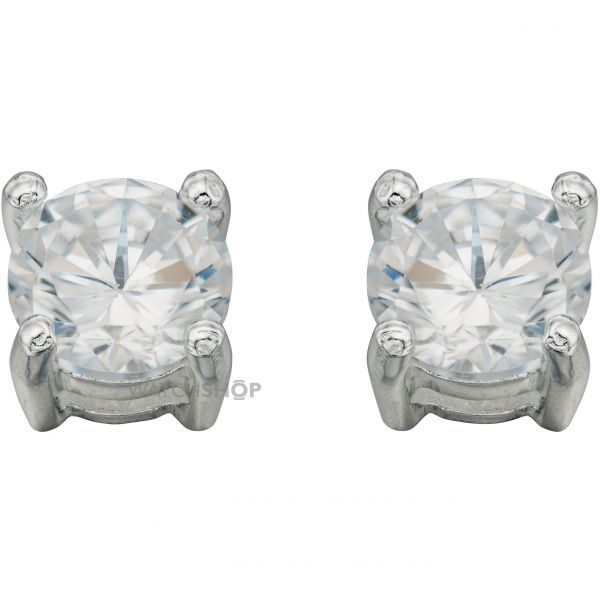 Ladies Beginnings Sterling Silver Cubic Zirconia Round Stud Earrings E457C