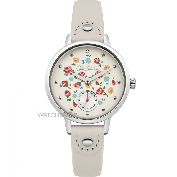 Ladies Cath Kidston Little Flower Buds Cream Leather Strap sub Dial Watch CKL005CS