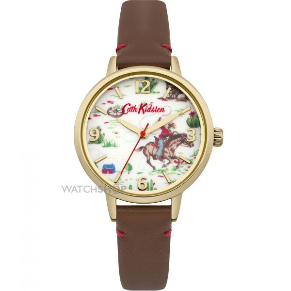 Ladies Cath Kidston Cowboy Brown Leather Strap Watch CKL006TG