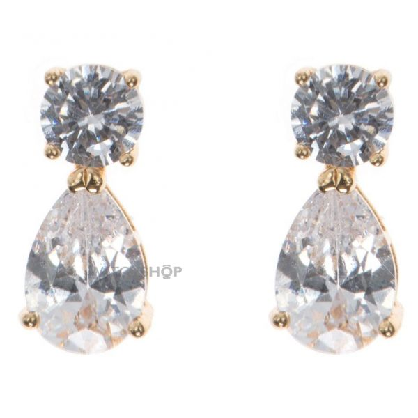 Ladies Anne Klein Gold Plated Cubic Zirconia Double Earrings 60411706-887