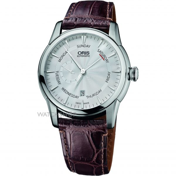 Mens Oris Artelier Small Second Pointer Day Crocodile Leather Strap Automatic Watch 0174576664051-0712373FC