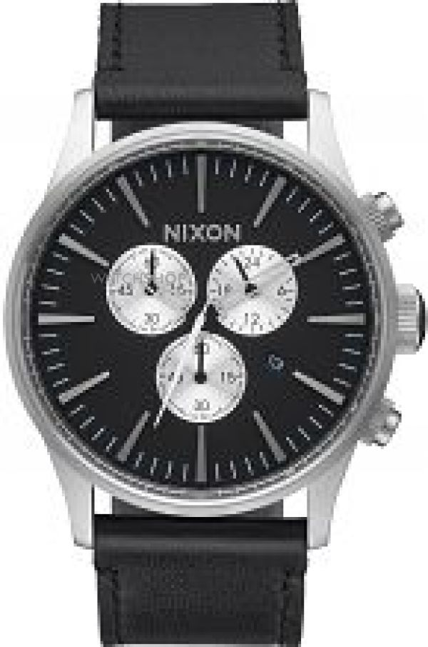 Mens Nixon The Sentry Chrono Leather Watch A405-000