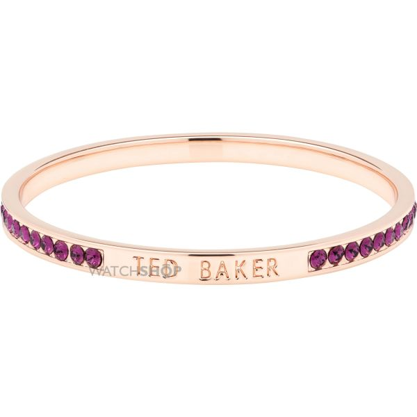 Ladies Ted Baker Rose Gold Plated Clem Narrow Crystal Band Bangle TBJ1050-24-44