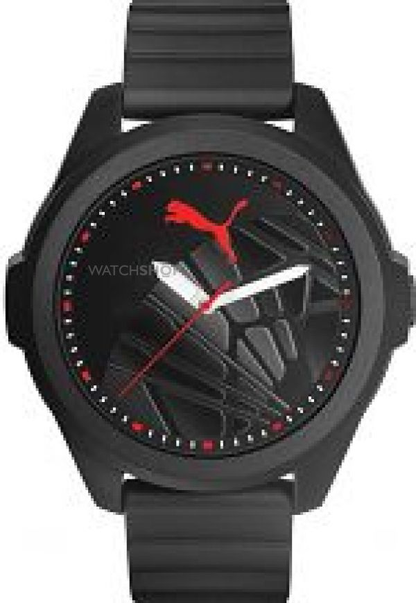 Mens Puma PU91131 GAME - black red sole Watch PU911311006