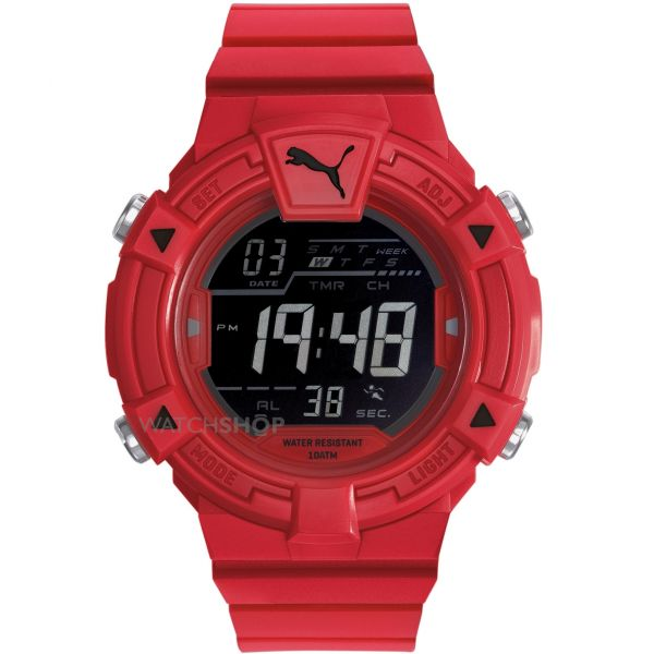 Mens Puma PU91138 COLLIDE DIGITAL - red black Alarm Chronograph Watch PU911381004