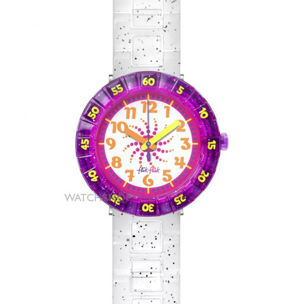 Childrens Flik Flak Swirly Glitter Watch FCSP034