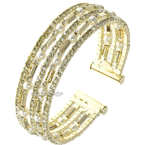 Ladies Anne Klein Gold Plated Pave Crystal Cuff Bangle 60449740-887