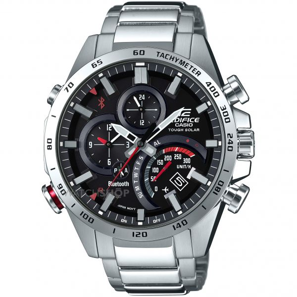 Mens Casio Edifice Bluetooth World Traveller Alarm Chronograph Solar Powered Watch EQB-501XD-1AER