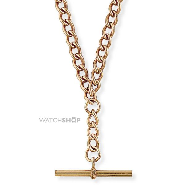 Rose Gold Albert Chain with T-bar 18/45cm