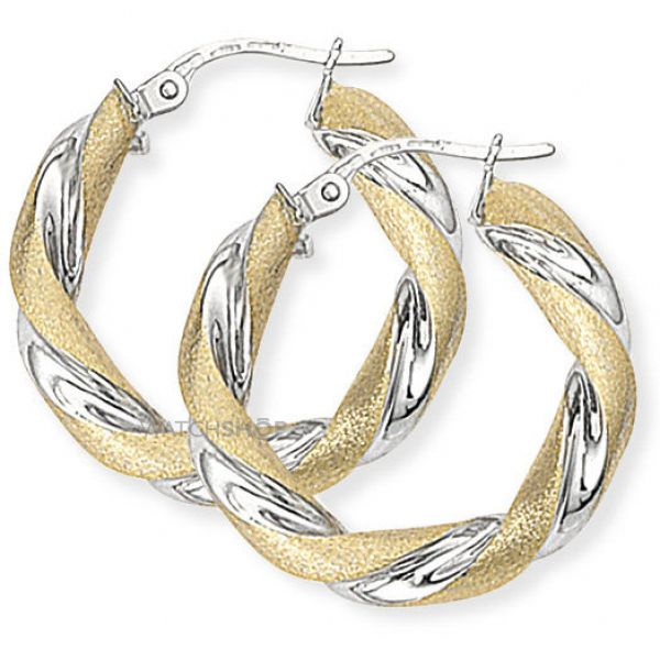 Two Tone Twisted Round Hoop Earrings