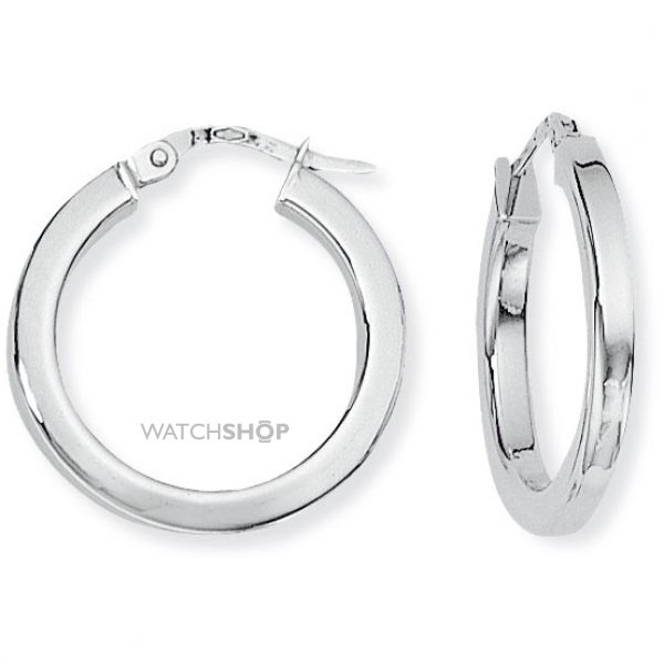 White Gold Square Tube Round Hoops