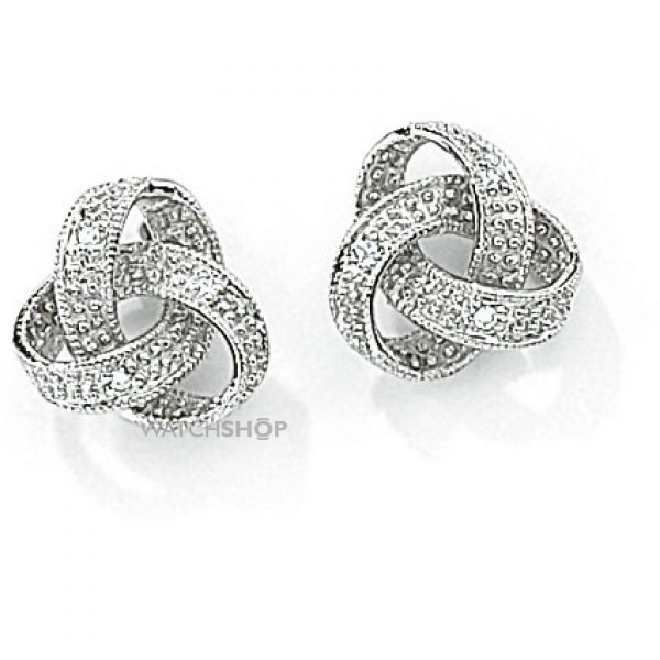 White Gold Diamond Knot Studs