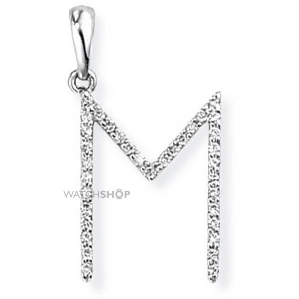 White Gold Diamond M Initial Pendant